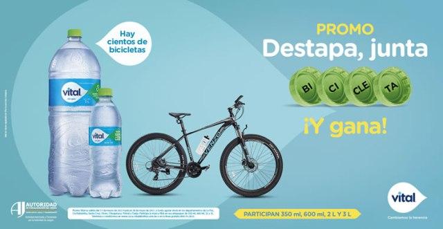 Debajo de las tapas de Agua Vital busca, junta y forma la palabra BICICLETA. Así podrás ganar una bicicleta.