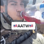 Soldier films TikTok video while conducting an airborne drop. Cranberry juice and Fleetwood Mac are involved.