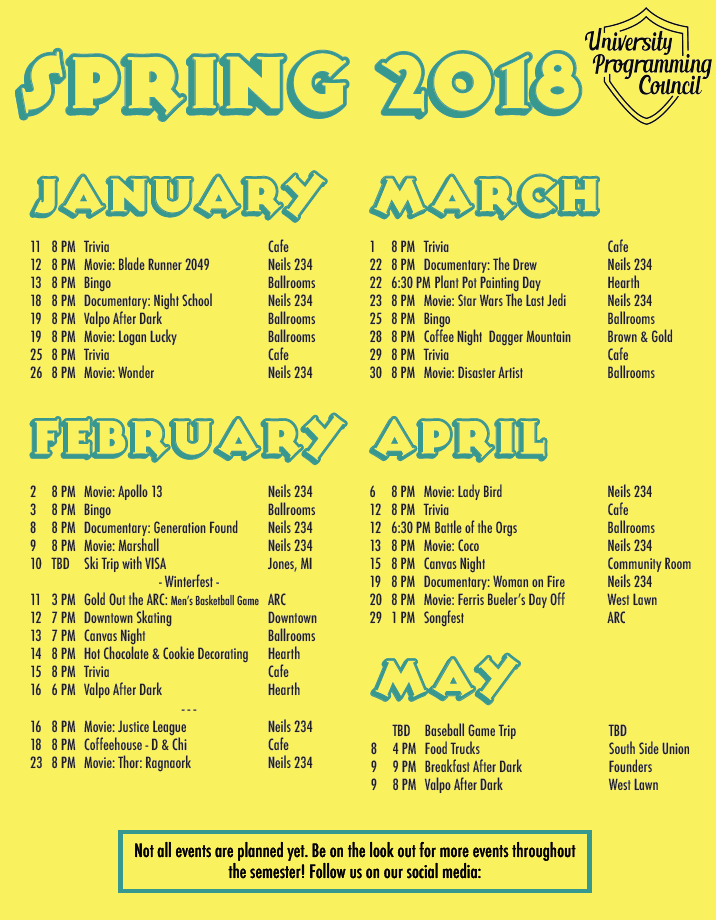 Spring 2018 Calendar