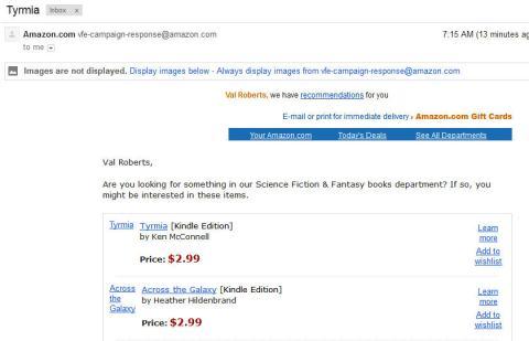 Amazon e-mail for Tyrmia