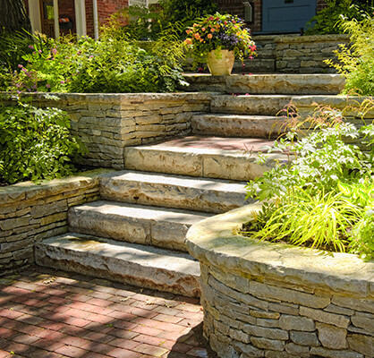outdoor stairs hardscape installation