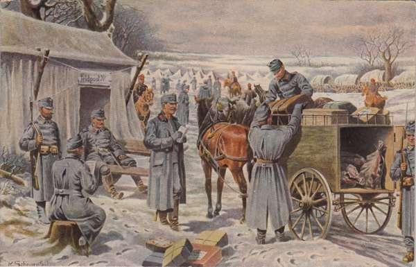 La consegna della posta militare ai soldati (Feldpost) in una cartolina austriaca della prima guerra mondiale.