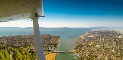 Taking off out of Oakland with San Francisco across the water