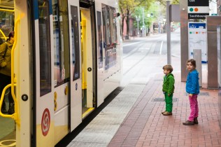Riding the tram in downtown Portland
