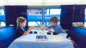 Dinner in the dining car