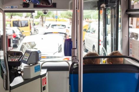 Riding the bus in San Sebastian