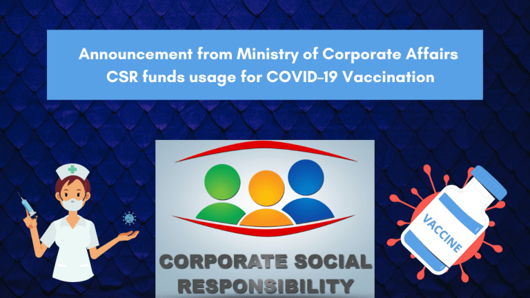 Announcement on CSR funds usage for COVID–19 Vaccination