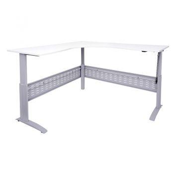 Smart Electric Height Adjustable Sit Stand Corner Workstation, Silver Frame, White Desk Top