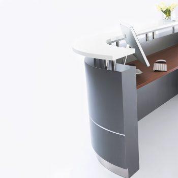 Monarch Reception Desk, Left Hand Curved Return, Inside