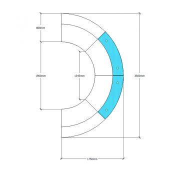 Evolve 4 Piece Reception Desk CAD Drawing