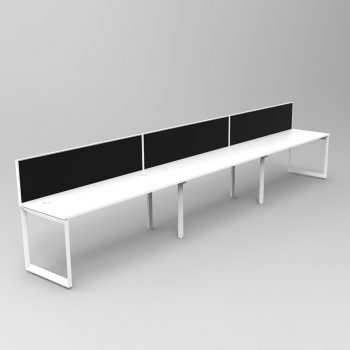 Modular Loop Desk, 3 Person In-Line, with Screen Divider