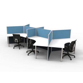 Six Desk Pod with Desk Dividers
