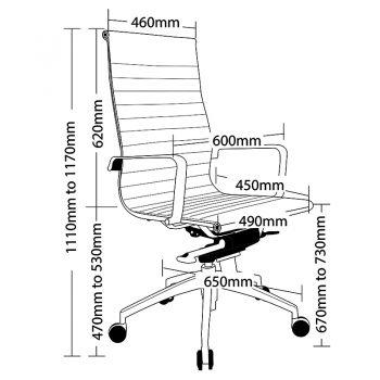 Kew High Back Chair, Sizes