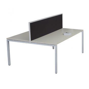 Modular 2-Way Desk Pod with Screen Divider