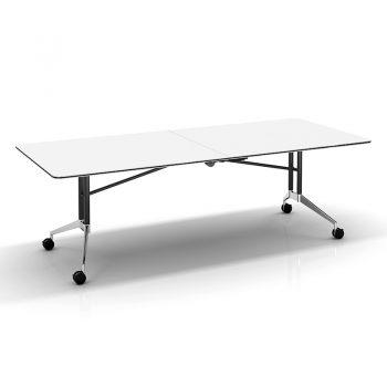 Harper Vertical Folding Table, White, Image 2