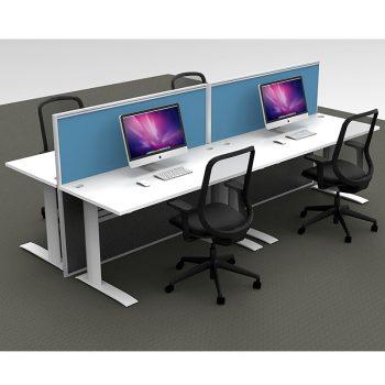 Smart 4 Straight Desk Pod, 2 Blue Floor Standing Screens