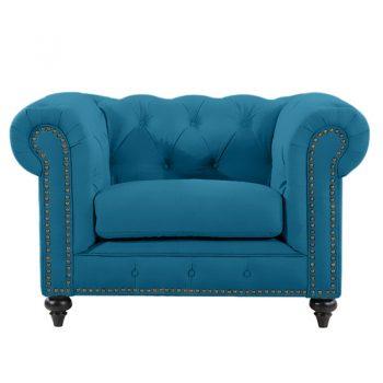 Chesterfield Lounge Chair, Turquoise Velvet
