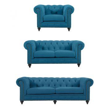 Chesterfield Lounge Range, Turquoise Colour Velvet