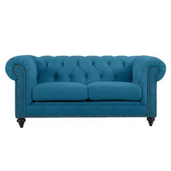 Chesterfield 2 Seater, Turquoise Colour Velvet