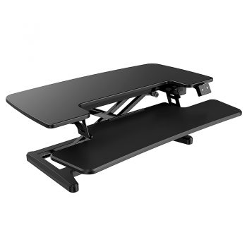 High Rise Electric Height Adjustable Desktop Stand, Black. RH Angle View