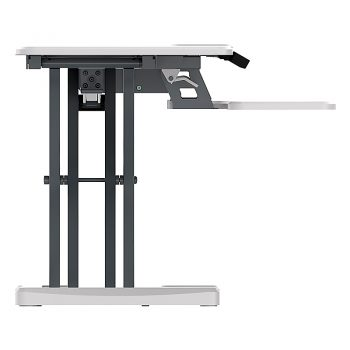 High Rise Electric Height Adjustable Desktop Stand, White. End View