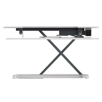 High Rise Electric Height Adjustable Desktop Stand, White. Raised Front View
