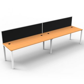 Modular 2 Inline Desks, Beech Top with Screen Dividers