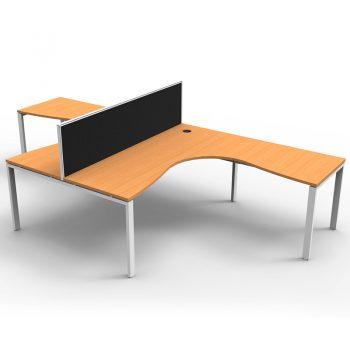 Modular 2 Way Corner Workstation, Beech Tops, with Screen Divider
