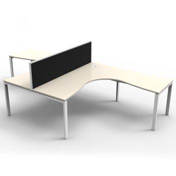 Modular 2 Way Corner Workstation, White Tops, with Screen Divider