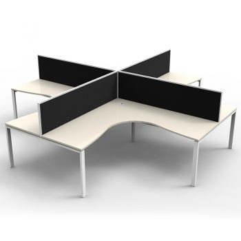 Modular 4 Way Corner Workstation, White Tops, with Screen Dividers