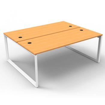 Modular Loop Leg 2 Back to Back Desks, Beech Tops, No Screen Dividers
