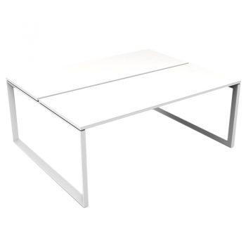 Modular Loop Leg 2 Back to Back Desks, White Tops, No Screen Dividers