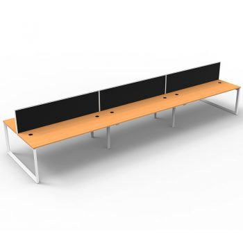 Modular Loop Leg 6 Back to Back Desks, Beech Tops with Screen Dividers