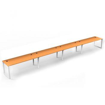 Modular Loop Leg 4 Inline Desks, Beech top