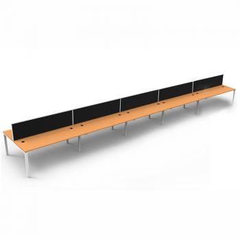 Modular Ten Back To Back Desks, Beech Tops with Screen Dividers