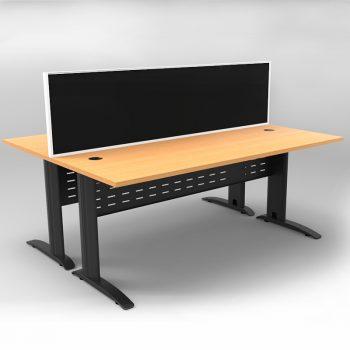 Smart 2 Back to Back Desks, Satin Black Base with Beech Tops and 1 Modular Express Screen Divider