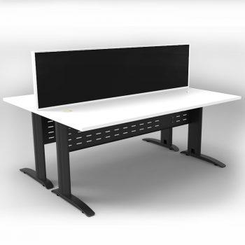 Smart 2 Back to Back Desks, Satin Black Base with White Tops and 1 Modular Express Screen Divider