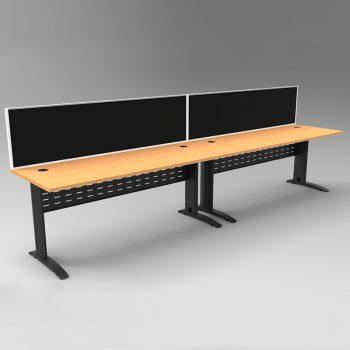 Smart 2 Inline Desks, Satin Black Base with Beech Tops and 2 Modular Express Screen Dividers