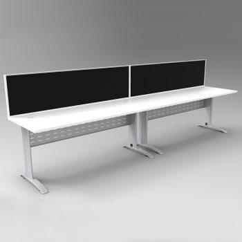 2 desks with dividers