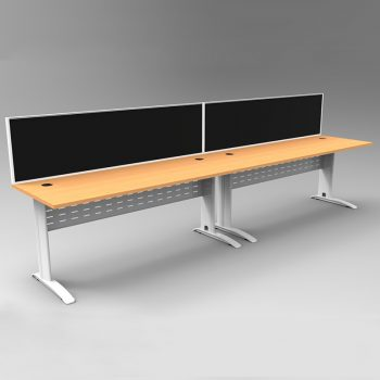Smart 2 Inline Desks, White Base with Beech Tops and 2 Modular Express Screen Dividers