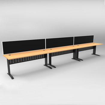 Smart 3 Inline Desks, Satin Black Base with Beech Tops and 3 Modular Express Screen Dividers