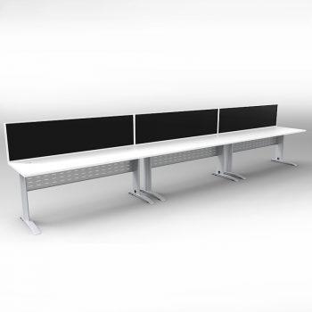 3 desks with dividers