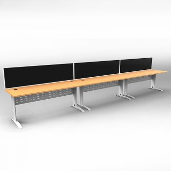 Smart 3 Inline Desks, White Base with Beech Tops and 3 Modular Express Screen Dividers