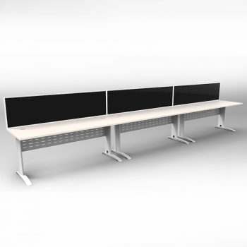 Smart 3 Inline Desks, White Base with White Tops and 3 Modular Express Screen Dividers
