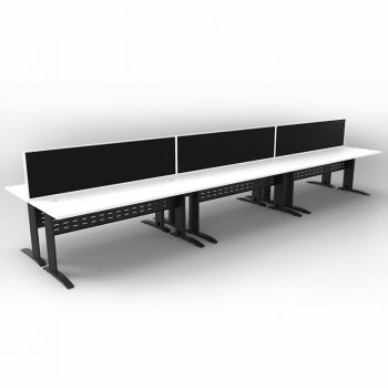 Smart 6 Back to Back Desks, Satin Black Base with White Tops and 3 Modular Express Screen Dividers