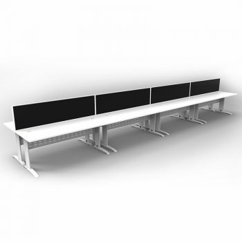 Smart 8 Back to Back Desks, White Base with White Tops and 4 Modular Express Screen Dividers
