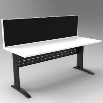 Smart Desk, Satin Black Base with White Top and Modular Express Screen Divider