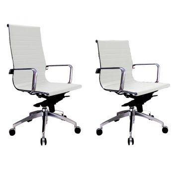 Kew High Back and Medium Back Chairs, White