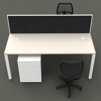 Modular 2 Back to Back Desks with Screen Divider, 2 Surrey Mesh Back Chairs and 2 Super Heavy Duty Metal Mobile Drawer Unit Package, Front View