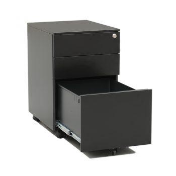 Monaco Metal Mobile Drawer Unit, Black, Open